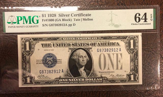1928 $1 Silver Certificate FR-1600 GA Block - Graded PMG 64 Choice Uncirculated