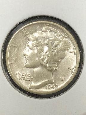 1942 S Mercury Silver Dime  BU