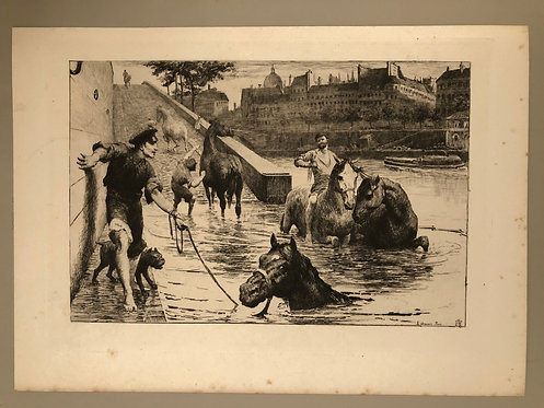"ARTIST George Percy Jacomb-Hood, ""L'Abreuvoir"" Paris, Antique Print of Etching"