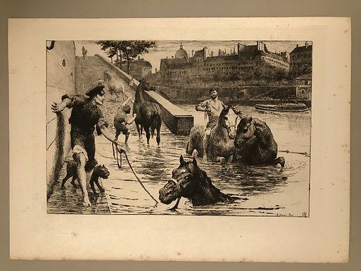 """ARTIST George Percy Jacomb-Hood, """"L'Abreuvoir"""" Paris, Antique Print of Etching"""