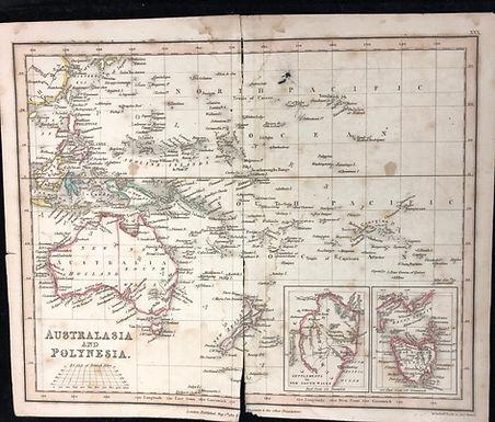 Antique 1827 Map of AUSTRALASIA Polynesia- New Holland & Van Diemens Land