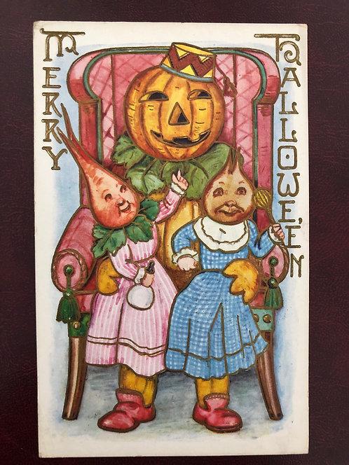 Antique 1900's Merry HALLOWEEN Postcard w/ Papa Jack O Lantern & Vegetable kids