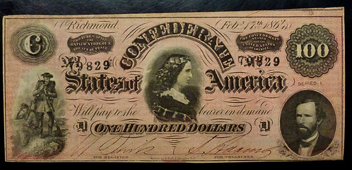 1864 $100 CONFEDERATE States Richmond T-65 XF 13 shows at top