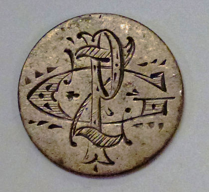 """1887 Seated Liberty Dime TURNED Love TOKEN """"GZP"""" Initials engraved"""