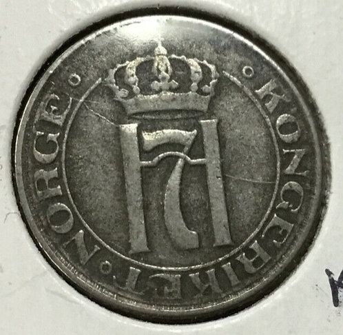 1917 NORWAY 2 ORE Coin,  IRON scarce Key date