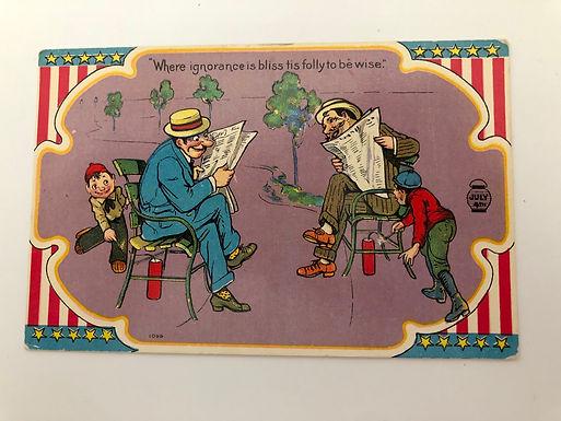 Antique 4th of July Postcard- Boys Light Fireworks Under Men- NAUGHTY KIDS!