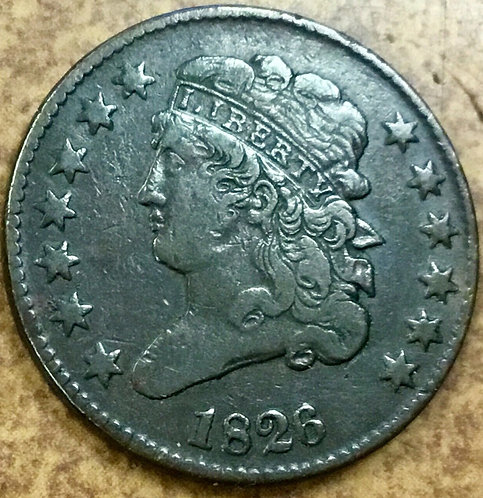 1826 C-1 CLASSIC HEAD HALF CENT  slightly rotated reverse