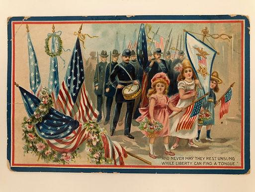 Vintage Postcard honoring WW1 Veterans, Decoration Day, embossed