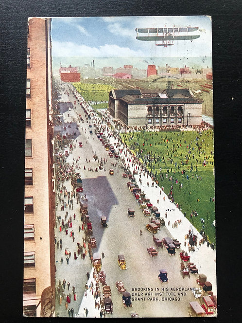 1912 Postcard Brookins in Airplane over Art Institute & Grant Park Chicago