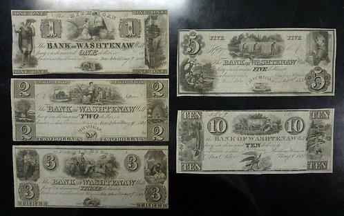 1835,  5 MICHIGAN Bank of Washtenaw Obsolete Remainder Notes