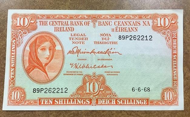 Ireland 1968 10sh Banknote P-63 XF, Deich Schillinge, Banc Ceannais Na H Eireann