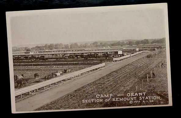 c1917 Antique Postcard, Camp GRANT Section of REMOUNT STATION Rockford IL