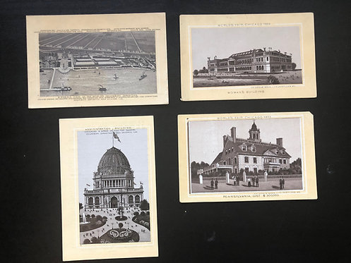 1893 Chicago Worlds Fair Columbian Exposition Set of 4 B&W Trade Cards