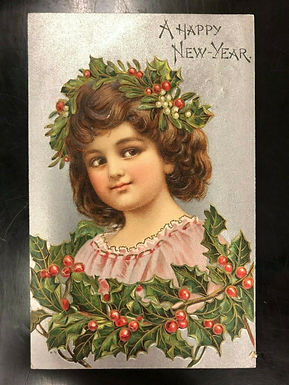 SILVER Antique Happy New Year Postcard 1908 Charming Girl w/ Garland of Holly