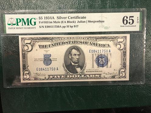 1934A $5 Silver Certificate Mule EA Block - PMG Graded 65 Gem Uncirculated