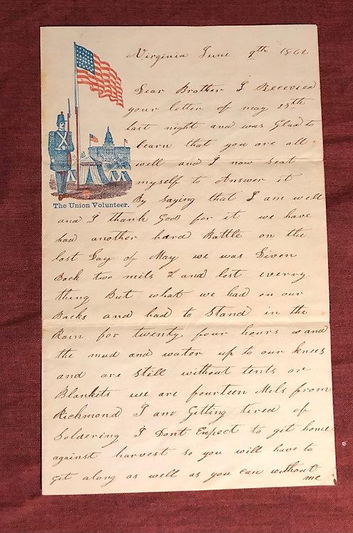 1862 Civil War letter on LETTERHEAD: BATTLE of Seven Pines (FAIR OAKS) 85th PA