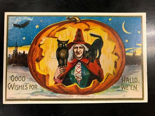 HALLOWEEN POSTCARD WITCH in RED hat & cape, Pumpkin, MOON, Bat, Owl, BLACK CAT