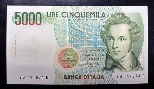 1985 Italy 5000 Lire P111-b CRISP UNCIRCULATED, Cinquemilla Lire, Banca D'Italia