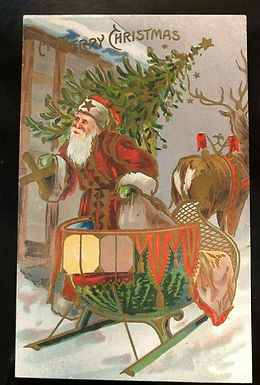 Antique 1908 Christmas Postcard, SILVER detail & SANTA with a GOLD STAR on HAT