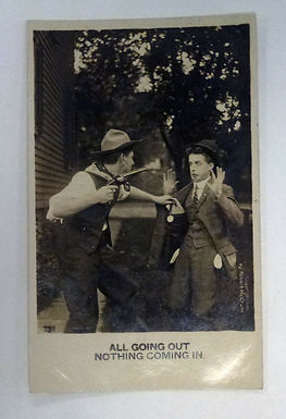1900's RPPC humor vintage postcard Armed ROBBERY All Going Out Nothing Coming In