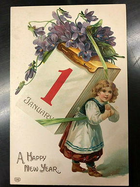 RARE EAS Antique Happy New Year Postcard Girl Carrying GIANT CALENDAR w/ Violets