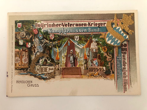 "Vintage 25th anniversary Munich 1900's UNUSED German Postcard ""Herzlichen Gruß"""