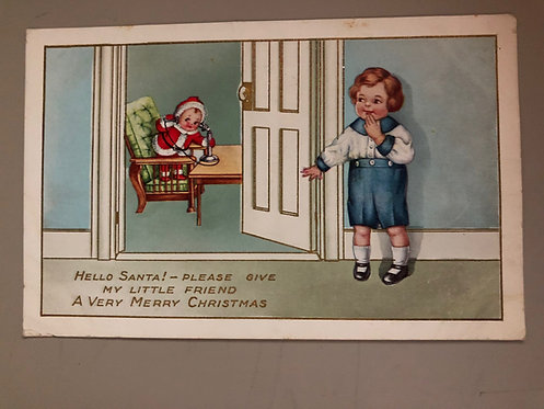 Antique 1915 Merry Christmas postcard with LITTLE kewpie doll SANTA ELF & child