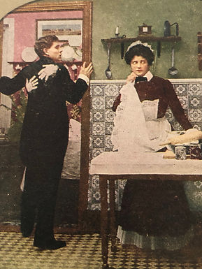 """Humorous Antique Stereoview """"My Wife's Coming"""" Husband Caught-Maid's Handprints"""