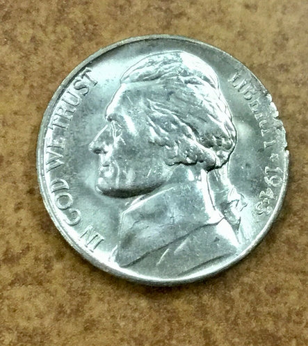 1943-S  BU silver War Nickel Ragged Clip error