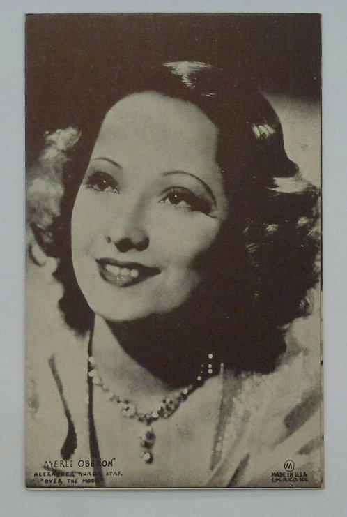 Vintage postcard Actress Merle Oberon Old Mutoscope promo for 1939 Over the Moon