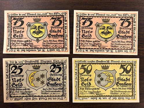 4 SUN AND MOON NOTGELD Emergency Notes 1922 from Germany