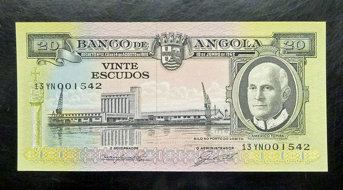 1962 Angola 20 Escudos P-92 Signature 1