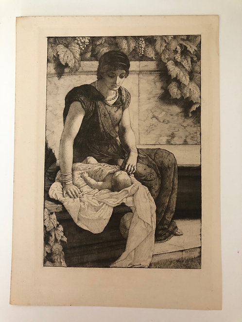 1880's original etching THE FIRST BORN Thomas Riley