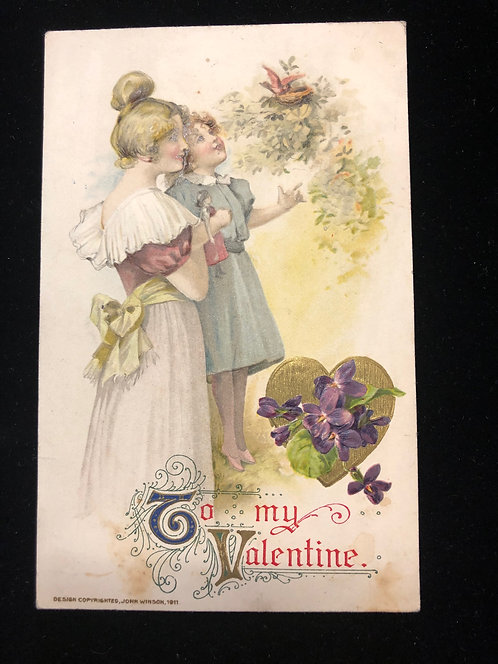 Rare Winsch Valentine's Day Vintage Postcard, Edwardian woman & child, Violets