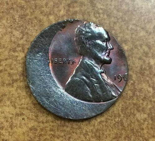 LINCOLN cent 196- struck off center on thin split planchet only 1.6 gram ERROR