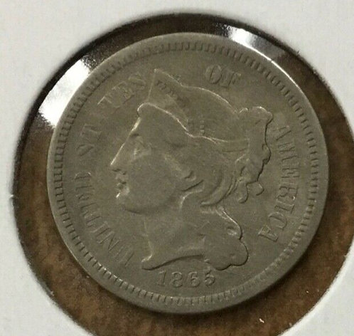 1865 3c nickel rotated dies 160 degrees! Medalic alignment error
