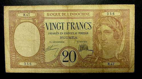New Caledonia 1929 Banque De L'Indochine 20 FRANCS Nouméa