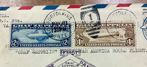 C14-C15 Graf Zeppelin XF Used Stamps on First Flight Roundtrip Cover