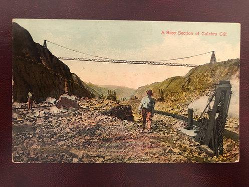 Vintage Color Postcard of Panama Canal, Culebra Cut & Empire Suspension Bridge
