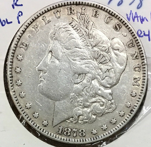 1878 7TF $1 R78 Morgan Silver Dollar  Vam 165 broken r, dbl P
