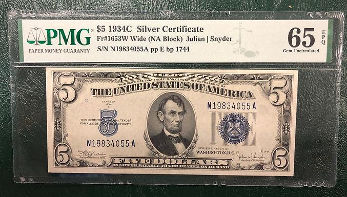 1934C $5 Silver Certificate Wide NA Block - PMG Graded 65 Gem Uncirculated