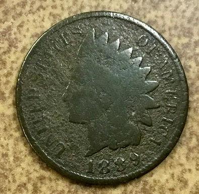 1889  Indian Head Cent, Penny  Thin Planchet Error 2 grams