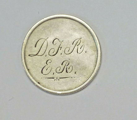 """LOVE Token Engraved with initials """"DFR"""" """"ER"""" on a 1841 Liberty Seated Quarter"""