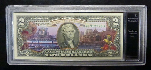 NEW JERSEY Statehood U.S COLORIZED 2009 $2 BANK NOTE in acrylic holder