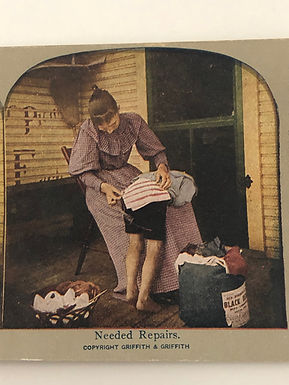 """Antique 1900's HUMOR Stereoview """"Needed Repairs"""" Mom mending Child's Shorts"""