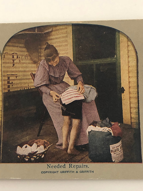 "Antique 1900's HUMOR Stereoview ""Needed Repairs"" Mom mending Child's Shorts"