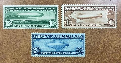 1930 Graf Zeppelin Mint Stamp Set #C13-15