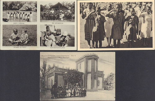 1900's 3 Postcards: Swedish Christian Missionaries in Turkey & South Africa