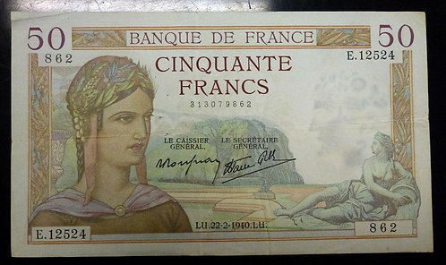 1940 Banque De France Cinquante Francs, 50 Francs