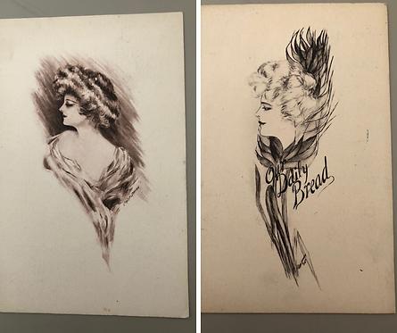 2 Vintage 1909 hand drawn Postcards from artist Cobb Shinn, both GIBSON GIRLS